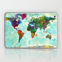Abstract Watercolor World Map Laptop & iPad Skin