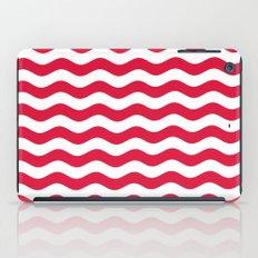 Wavy Stripes (Crimson/White) iPad Case