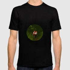 FOX IN A COOL GREEN WORLD SMALL Black Mens Fitted Tee
