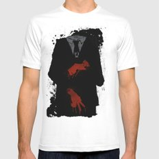Murder Suit White Mens Fitted Tee SMALL