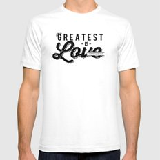 The Greatest is Love White Mens Fitted Tee SMALL