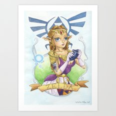 Tattooed Zelda Art Print