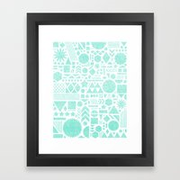 Modern Elements with Turquoise Framed Art Print