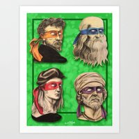 Art Print featuring Renaissance Mutant Ninja Artists by Rachel M. Loose