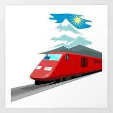 Diesel Train Retro Art Print