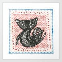 Moe cat Stamp Art Print