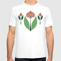 Nouveau Chrysanth Rose Mens Fitted Tee White SMALL