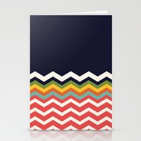 Retro Chevrons (salmon and navy) Stationery Cards