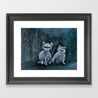 Rambling Raccoons Midni… Framed Art Print