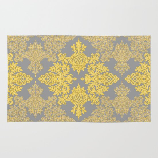 Golden Folk - doodle pattern in yellow & grey Area & Throw Rug