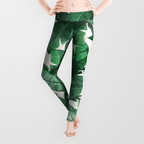 Tropical Palm Print Leggings By Tamsin Lucie