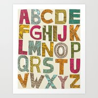 alphabet Art Prints featuring ALPHABET by Matthew Taylor Wilson