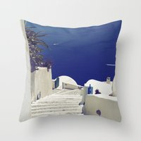 Santorini Stairs II Throw Pillow