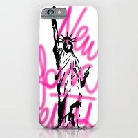 iPhone & iPod Case featuring New York City Pink Neon by Lucrezia Semenzato