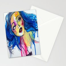 blue haired girl Stationery Cards