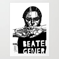 B&W Fashion Illustration - Beaten Generation Art Print