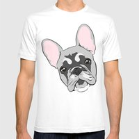 Jersey the French Bulldog Mens Fitted Tee White SMALL