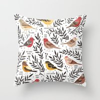 Finches of North American Field Guide Throw Pillow