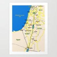 Israel Map Design Art Print