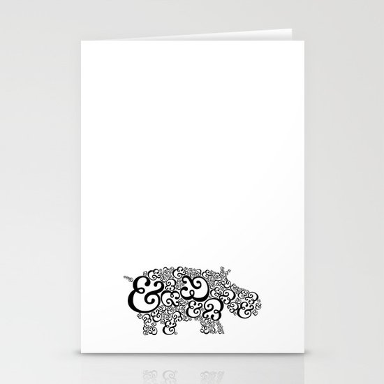 Ampersand Hippo Stationery Card
