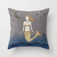 Mermaid At Dusk Throw Pillow