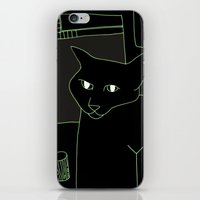 Neon Black Cat Shoulder Piece iPhone & iPod Skin
