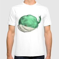 Tubby Sketch Whale Mens Fitted Tee White SMALL