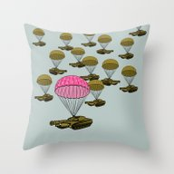 Tank Parachute Throw Pillow