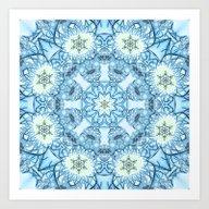 Winter Blues Pattern Wit… Art Print