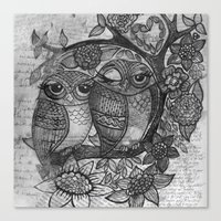 Owl in black and white Canvas Print