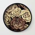 Brown Roses Wall Clock