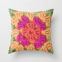 Bright Modern Crochet Pattern Throw Pillow