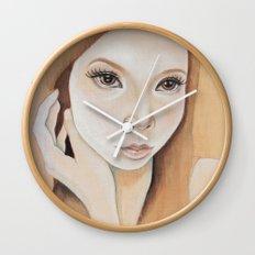 Self Portrait on Wood Wall Clock