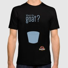 Jurassic Park  ¿Where's the goat? Mens Fitted Tee SMALL Black