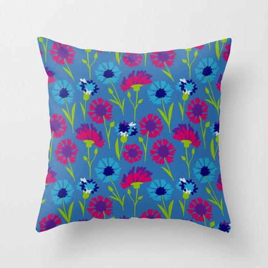 Cornflower (Bachelor Buttons) Throw Pillow