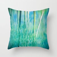 Abstract Birches Reflect… Throw Pillow