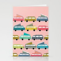 geo campers pink Stationery Cards