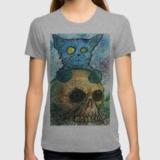 Blue Cat on a Skull Womens Fitted Tee Athletic Grey SMALL