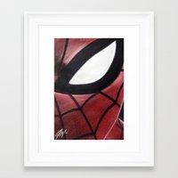 SPIDEY FACE Framed Art Print