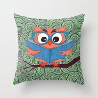 Owl Drawing Meditation Throw Pillow