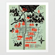 Art Print featuring Twin Peaks Map by Robert Farkas