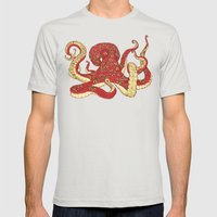 Flowered Octopus Mens Fitted Tee Silver SMALL