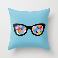 Map 45 Glasses On Sky Bl… Throw Pillow