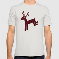 Reindeer-Red Mens Fitted Tee Silver SMALL