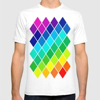 Tetrahedral Rainbow Mens Fitted Tee White SMALL