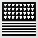 Heart Stripes White on Black Canvas Print