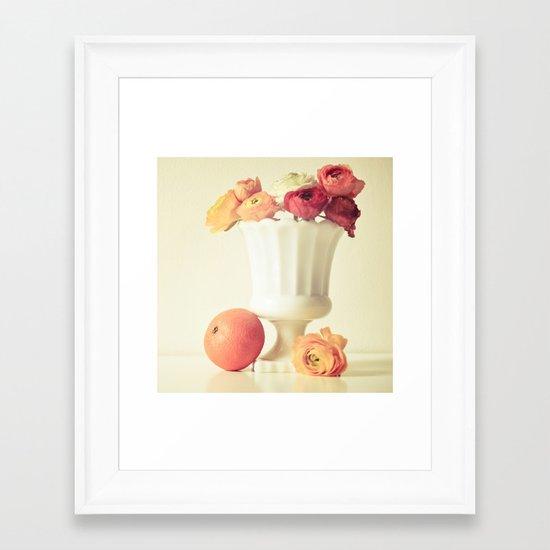 Milk Glass, Tangerine and Flowers Framed Art Print
