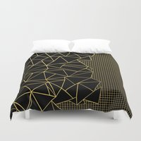 Ab Outline Grid Black and Gold Duvet Cover