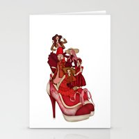 Ladies In Red Stationery Cards
