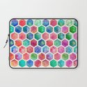 Hand Painted Watercolor Honeycomb Pattern Laptop Sleeve